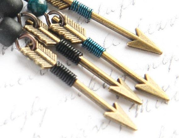 Aztec Earrings, Tribal Black Arrow Earrings.  Black Coconut Bead. Archery Hunt Wilderness Romantic Minimal Geometry Inspired