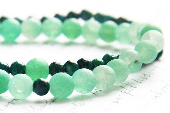 Stackable bracelet Set, Green Agate bracelet, Minimal bracelet, Azurite Chrysocolla bracelet Stone bracelet Meditation bracelet Tribal style