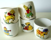1970's childrens vintage animal egg cups.