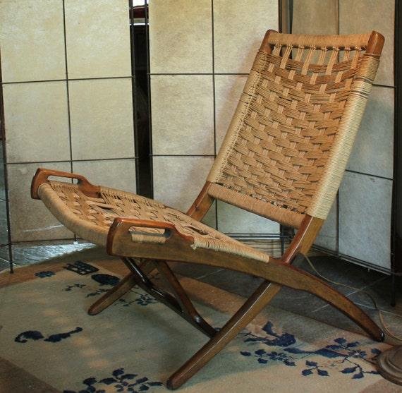 Vintage Danish Modern Mid Century Hans Wegner Style Folding Rope Chair