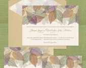 "RESERVED - Personalized Wedding Invitation Suite: ""Autumn Leaves"""