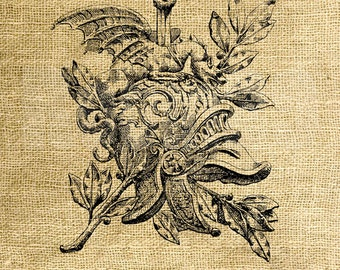 INSTANT DOWNLOAD - French Dragon Ornament Vintage Illustration - Image Transfer - Digital Collage Sheet by Room29 - Sheet no. 1045