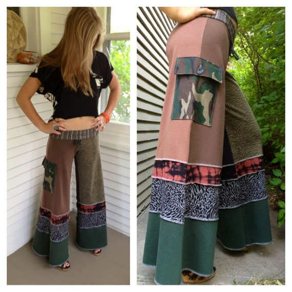 Patchwork Eco Gaucho PANTS upcycled clothing yoga by zasra on Etsy