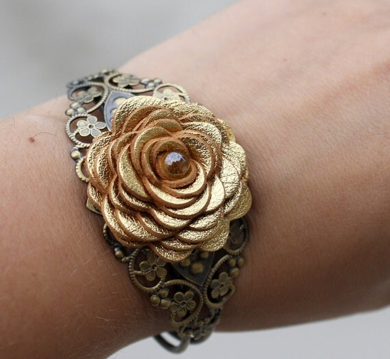 Flower Cuff Bracelet, Gold Leather Rose/Filigree Lace Detailing 3 year anniversary gift prom wearable art