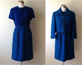 Vintage Blue Wool 1960s Dress and Matching Suit Coat