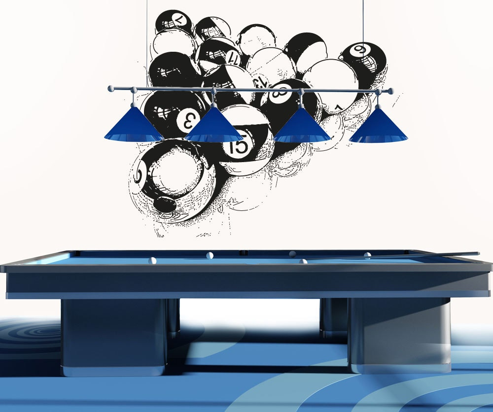 vinyl mural autocollant autocollant billard boules osaa681s. Black Bedroom Furniture Sets. Home Design Ideas