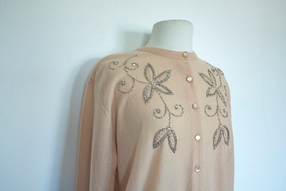 Vintage 1950s BOUCLE Tan BEADED Pin Up Sweater