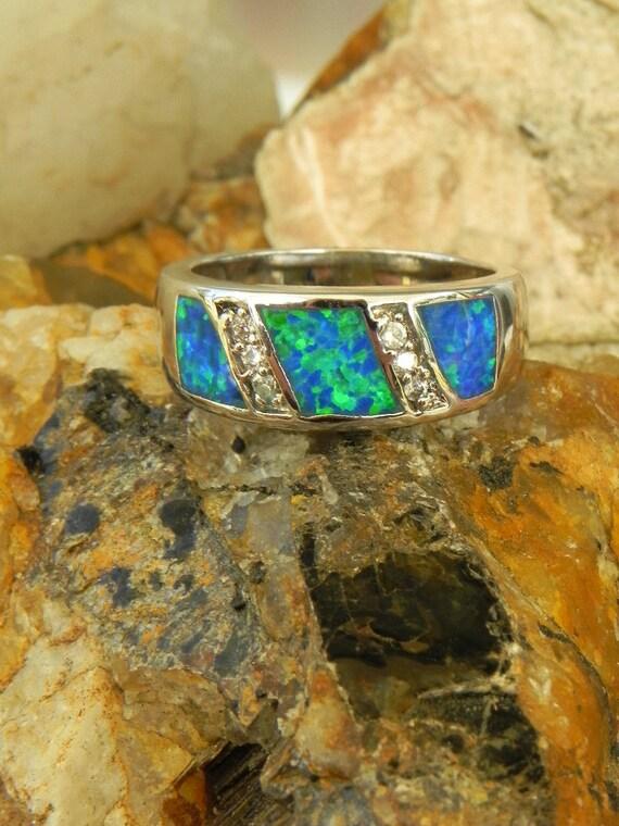 Blue Opal Diamond Sterling Ring