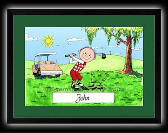 Personalized Cartoon Golfer - Male, Female, Two Guys, Two Women OR Couple - 8 x 10 Matted Print   w customer choice of mat color