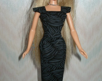 "Handmade 11.5"" fashion doll clothes - black on black cotton sheath"