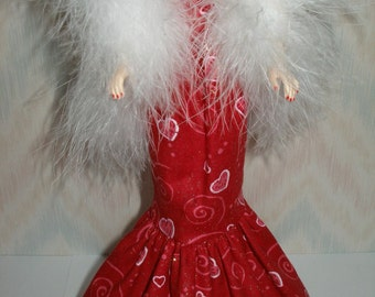 """Handmade 11.5"""" fashion doll Clothes - red glittery heart gown with boa"""