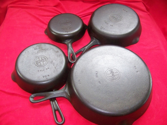 Set of 4 Griswold Small Logo Cast Iron Skillets 3,5,6 and 9 0435