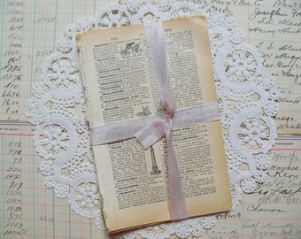 Vintage Ephemera-French Illustrated Dictionary Pages-PETITE-Altered Art-ATC-Supplies-Papers-Altered Art-Inspiration-Mixed Media