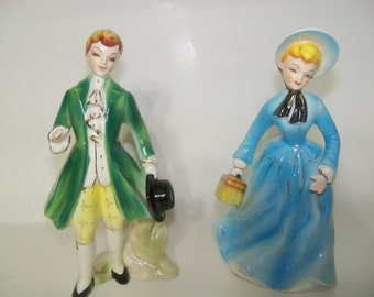 Vintage Norcrest Marked Figurines-Pair-Man and Women-MINT Condition