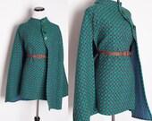 Vintage 1960s Cape / Fall Fashion / Mod / Cape Jacket / Cloak / Coat / Rustic Autumn / Purple and Teal / Vintage Cape / 1302