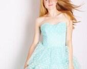 Reserved - Aqua strapless 1950s Wedding Dress with White Polka Dots / 1950s wedding dress / Wedding  / Blue / Prom / Dress / Dresses / 1136