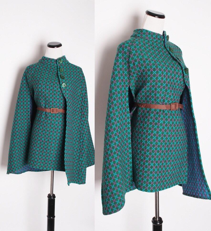 vintage 1960s cape fall fashion mod cape jacket cloak