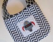 Designer Baby Bibs - BOYS Robot Man / Chevron Baby Bib / Babiease Baby Boutique / Custom Baby Gift Sets - Babiease