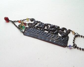 Baroque A Nova Necklace, Handmade, Repurposed Lamp, Brass, Black Patina, Crystal, Salvaged Chain, Eco Friendly, Green