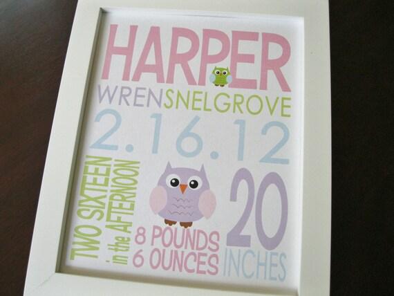 Personalized Wall Art Nursery Decor Custom Birth Print Baby Girl Boy Owl 8 x 10 HARPER