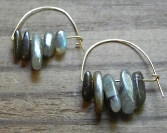 labradorite hoop earrings, modern labradorite hoop earrings, beaded semi precious gemstone earrings, stone earrings