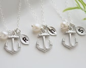 Set of 6,Anchor Necklace,Anchor with leaf initial,Pearl,Sailors Anchor,Wedding Jewelry,Bridesmaid gifts,daily Jewelry,strength