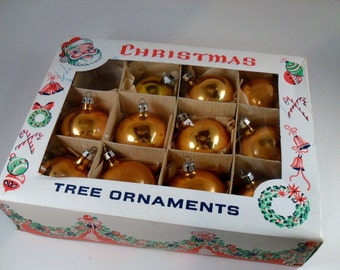 Vintage Christmas tree ornaments / 11 Gold Balls / Made in Poland and Shiny Brite