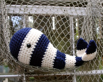 Woolie Whale Hand Crocheted Plush-Navy Stripe-Large