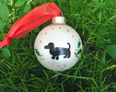 Dachshund Ornament - Personalized Pet Christmas Ornament for Dog Lover - Hand Painted Glass Bauble, Weiner Dog, Dachshund Art, Hot Dog