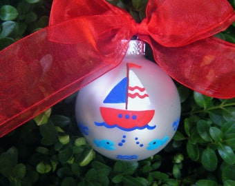 Sailboat Ornament - Personalized Hand Painted Christmas Ornament - Sailboat Party, Nautical Decor, Nursery Bauble, Baby's First Christmas