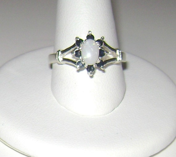Genuine Opal & Sapphire Ring Sterling Silver .925 Size 7