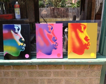 Pop art set of 3 african woman,the kiss series,stencils & spraypaints on canvas,afro,rainbow,beauty,handmade,urban,graffiti,pleasure,home