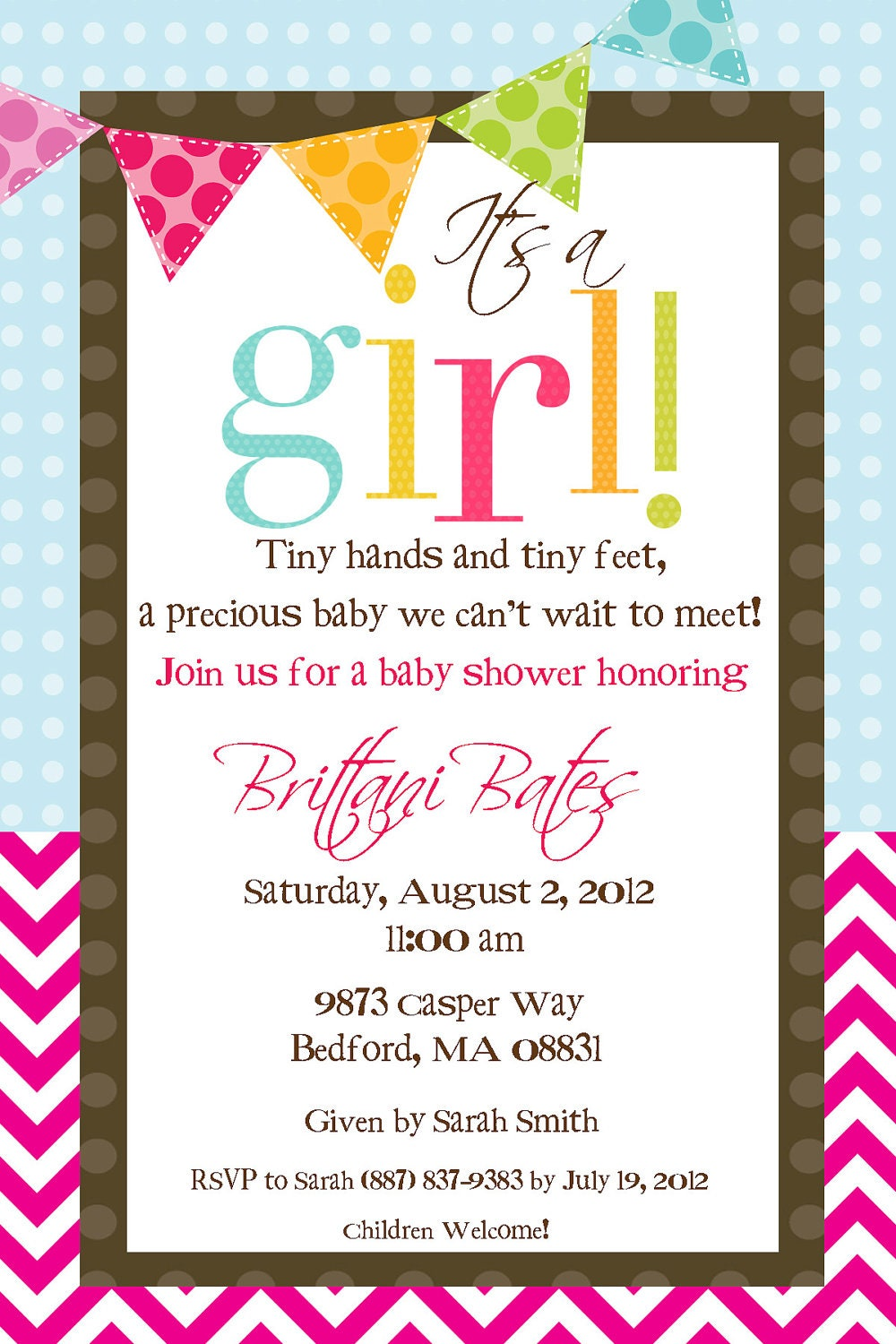 items similar to it 39 s a girl baby shower invitation on etsy