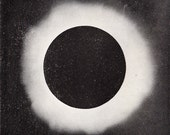 1908 Antique CELESTIAL print of  photographs of the SUN  and sunlight from 18th century, 104 years old print