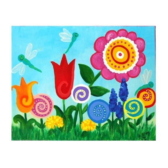 Baby Girl Nursery Art, DRAGONFLY GARDEN, Wall Art for Girls Room