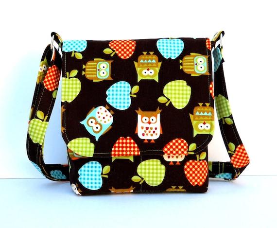 Small Messenger Bag Owl Purse - Brown Corduroy with Owls