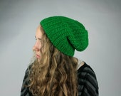 Vintage Beanie Hat Hipster Hand Crocheted Kelly Grass Green