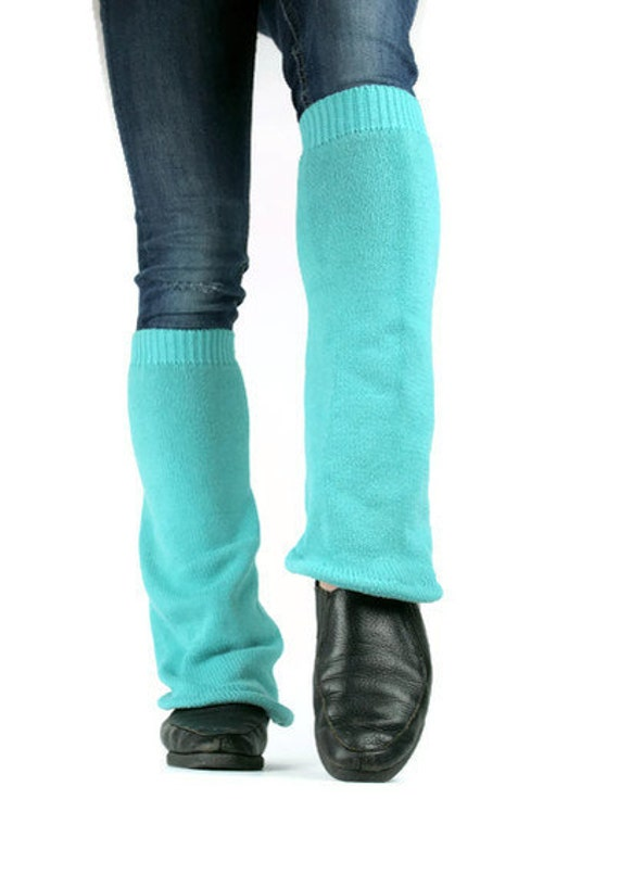 Upcycled Recycled Repurposed Sweater Leg Warmers Aqua Blue