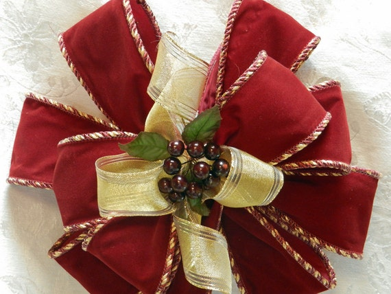 Christmas/ Winter  wreath/ garland bow  Maroon velvet with gold ribbon center and maroon berries