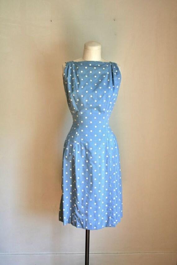 vintage 50/60s sheath dress - FISH in WATER fish tail polkadot dress / XS-S