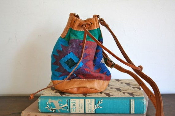 vintage tapestry bucket bag - NAVAJO drawstring mini bag