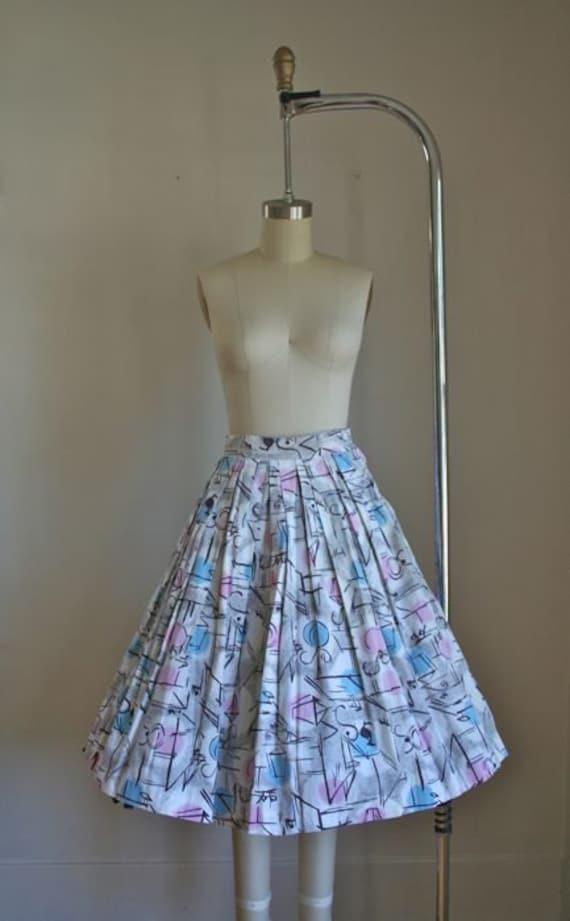 """vintage 50s atomic print skirt - STREET LIGHT novelty skirt / XS/24""""W"""