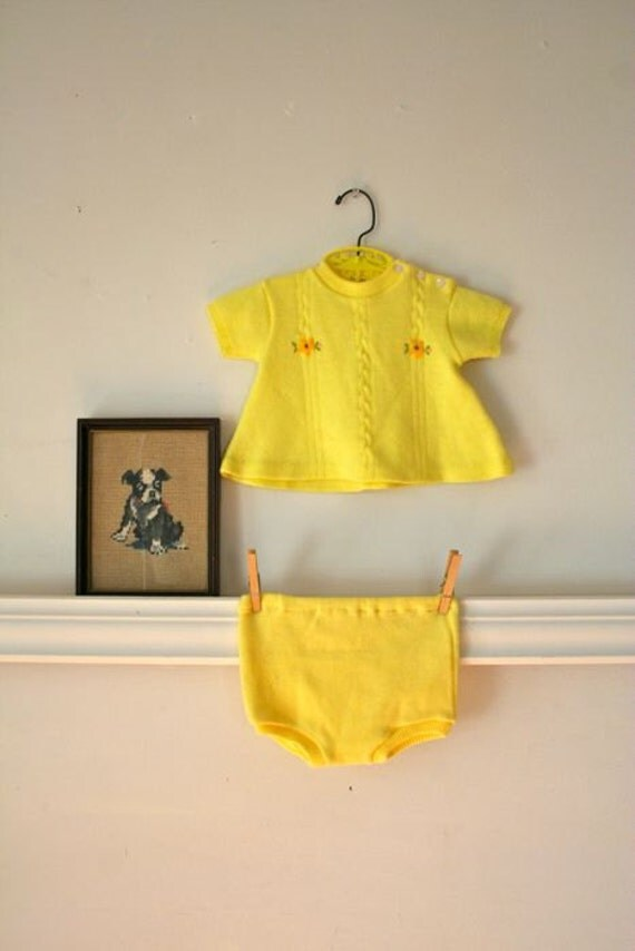 vintage baby girl sweater set - EGG YOLK yellow cable knit sweater outfit / 12-18M