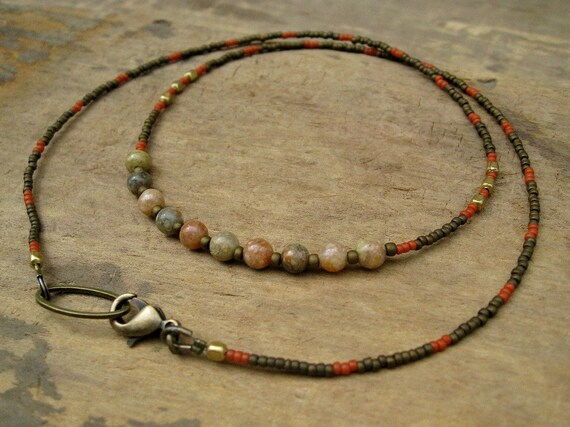 Dainty Jasper Necklace, delicate necklace, simple rustic necklace with autumn jasper in brown, orange, and gold