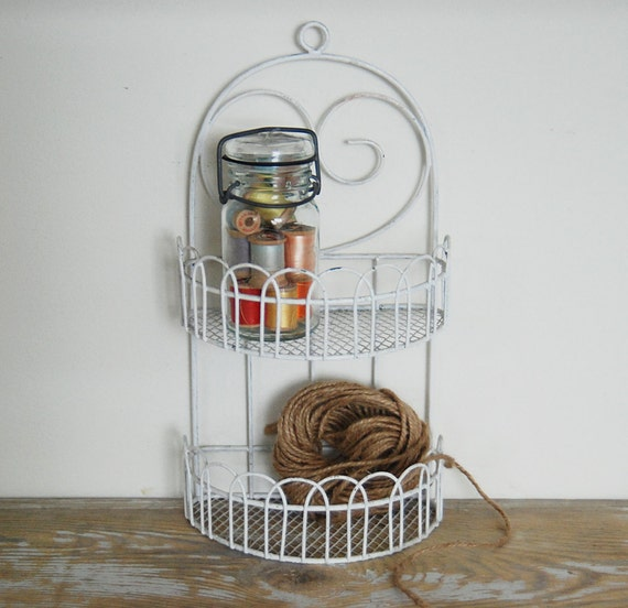 vintage white wire hanging shelf display by grannypantydesigns