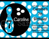 Bowling Birthday Party Invitation Bowling Invitations Printable or Printed