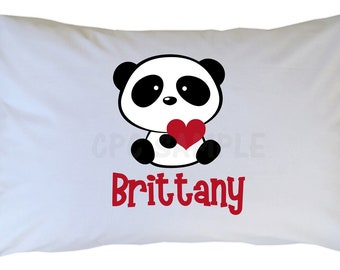 Personalized Panda Bear Pillow Case, Standard, Travel, Toddler Size
