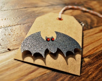 Bat gift tags Halloween tags Kraft halloween tags by oscar & ollie
