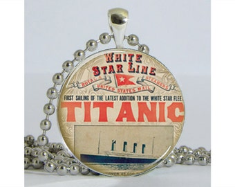 Titanic Poster Necklace with Chain Art Pendant Resin Pendant Picture Pendant