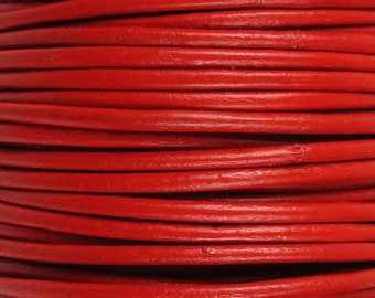 2 Yards - 1mm Red Leather Cord